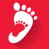 Baby footprint in adult foot icon. Kids shoes store icon. Family sign. Parent and child symbol. Adoption emblem. Charity campaign. Vector illustration EPS10 Stock Photography
