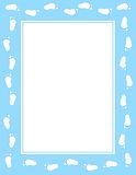 Baby footprint border. Cute baby boy footprints border / frame Stock Photo