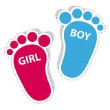 Baby Footprint - Girl And Boy Outline Icons With Shadow. Vector Illustration On White Background Royalty Free Stock Image