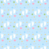 Seamless baby footprints background and pattern vector illustration Royalty Free Stock Photography