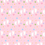 Seamless baby footprints background and pattern vector illustration Royalty Free Stock Photos