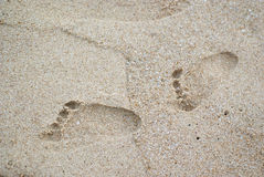 Baby footprints in the sand Royalty Free Stock Images