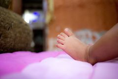 Baby footsteps. Baby foot close up look amazing Royalty Free Stock Photography