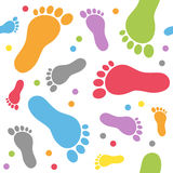 Baby Footsteps Seamless Pattern. An abstract seamless pattern with colourful baby footprints on white background. Useful also as design element for texture Stock Photography