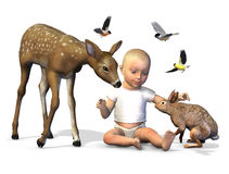 Baby with Forest Animals - with clipping path. 3D render of a baby with a fawn, rabbit and birds Royalty Free Stock Image