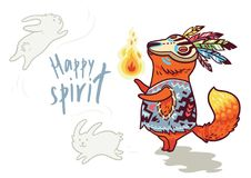 Baby fox shaman with feather. Vector print. Happy spirit. Baby fox in tribal style with fire. Funny vector kids illustration Stock Photography