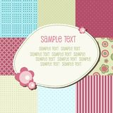 Baby frame. Baby patchwork pattern with text frame, vector Stock Photos