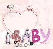Baby Frame. Cute hand drawn  frame with baby elements Stock Images