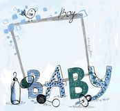 Baby Frame. Cute hand drawn  frame with baby elements Royalty Free Stock Photo