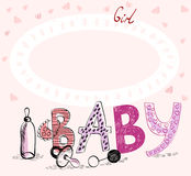 Baby Frame. Cute hand drawn  frame with baby elements Stock Photography