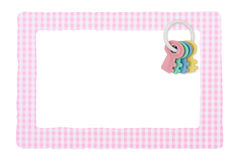 Baby Frame for girl. A baby girl frame for message or invitation isolated on white Royalty Free Stock Images