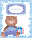 Baby frame with little bear Royalty Free Stock Image