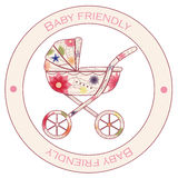 Baby friendly vintage sticker Royalty Free Stock Images