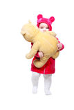 Baby frightened cuddle toy bear Royalty Free Stock Image