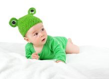 Baby in frog hat Royalty Free Stock Photography