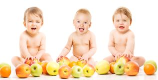 Baby Fruit for Babies, Happy Children with Apples, Kids on White royalty free stock photos