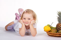 Baby and fruits Royalty Free Stock Photo