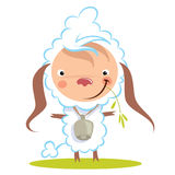 Baby funny cartoon sheep with a big bell graze grass Stock Photography