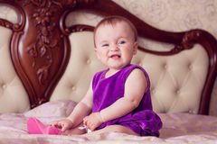 Baby with funny emotion Royalty Free Stock Photography