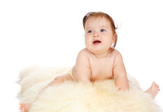 Baby on fur Royalty Free Stock Photos