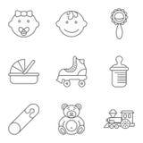 Baby gällde den plana vektorsymbolsuppsättningen royaltyfri illustrationer