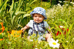 Baby in garden Stock Photo
