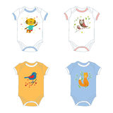 Baby garments t-shirts with animals print. Designs illustration Stock Images
