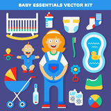 Baby gear essentials. Vector kit for new born parents. Vector illustration and icons Stock Photos