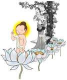 Baby geboren Boedha en mamma, illustratie van Boedha, op wit wordt geïsoleerd dat Stock Foto's