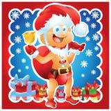 Baby gekleidet als Santa Claus mit Geschenken Stockfotos