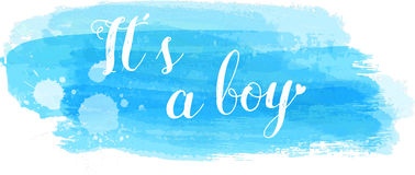 Baby gender reveal illustration. Baby gender reveal concept illustration. It`s a boy. Blue colored Royalty Free Stock Photos