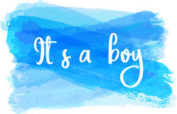 Baby gender reveal illustration. Baby gender reveal concept illustration. It`s a boy. Blue colored Royalty Free Stock Photography
