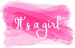 Baby gender reveal illustration. Baby gender reveal concept illustration. It`s a girl. Pink colored Stock Photo