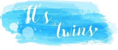 Baby gender reveal illustration. Baby gender reveal concept illustration. It`s twins. Blue colored Stock Image