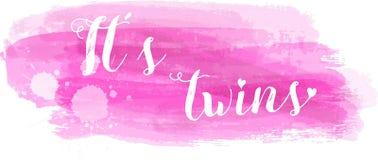 Baby gender reveal illustration. Baby gender reveal concept illustration. It`s twins. Pink colored Stock Images