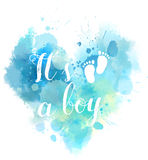Baby gender reveal watercolored heart. Baby gender reveal concept illustration. Watercolor imitation heart.  It`s a boy. Blue colored Stock Photography