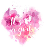 Baby gender reveal watercolored heart. Baby gender reveal concept illustration. Watercolor imitation heart. It`s a girl. Pink colored Stock Photo