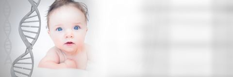 Baby with genetic DNA stock image