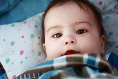 Baby getting to sleep. Portrait of little baby getting to sleep Royalty Free Stock Photo