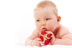 Baby with gift Royalty Free Stock Photo