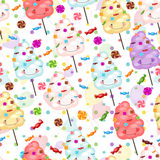 Baby gift seamless background of cotton candy, candy and colorfu Royalty Free Stock Photography