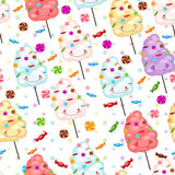 Baby gift seamless background of cotton candy, candy. Stock Photos