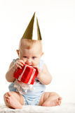 Baby with giftbox stock images
