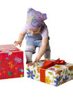 Baby with gifts royalty free stock images