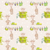 Baby Giraffe Background. Seamless Pattern Stock Images