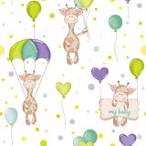 Baby Giraffe Background. Seamless Pattern Stock Photo