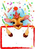 Baby Giraffe Birthday vector illustration