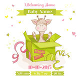 Baby Giraffe in a Box - Baby Shower Card Royalty Free Stock Image