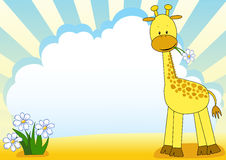 Baby giraffe and flower. Royalty Free Stock Photography