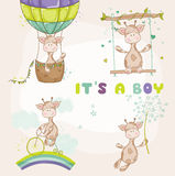 Baby Giraffe Set - Baby Shower Card Royalty Free Stock Images
